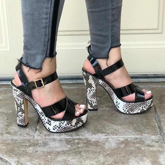 2d23f49b8e7 Black Chunky Heel Platform Sandal
